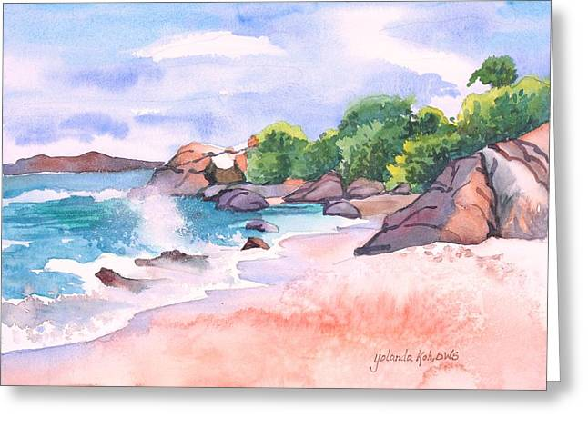 Pink Sands Greeting Card by Yolanda Koh