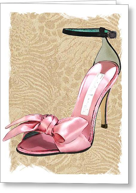 Pink Satin Ankle Straps On Safari Greeting Card by Elaine Plesser