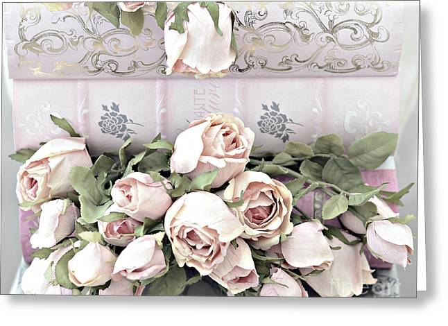 Greeting Card featuring the photograph Pink Shabby Chic Roses On Pink Cottage Books - Shabby Cottage Pink Roses Home Decor by Kathy Fornal