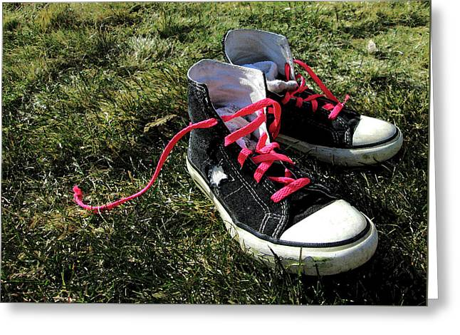 Pink Shoe Laces Greeting Card