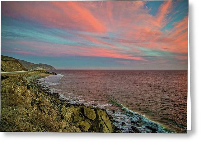 Pink Skies Along Pacific Coast Highway Greeting Card by Lynn Bauer