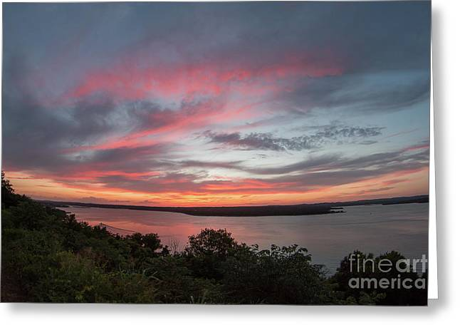 Pink Skies And Clouds At Sunset Over Lake Travis In Austin Texas Greeting Card