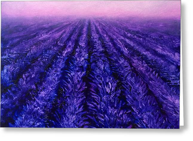 Pink Skies - Lavender Fields Greeting Card by Karen Whitworth