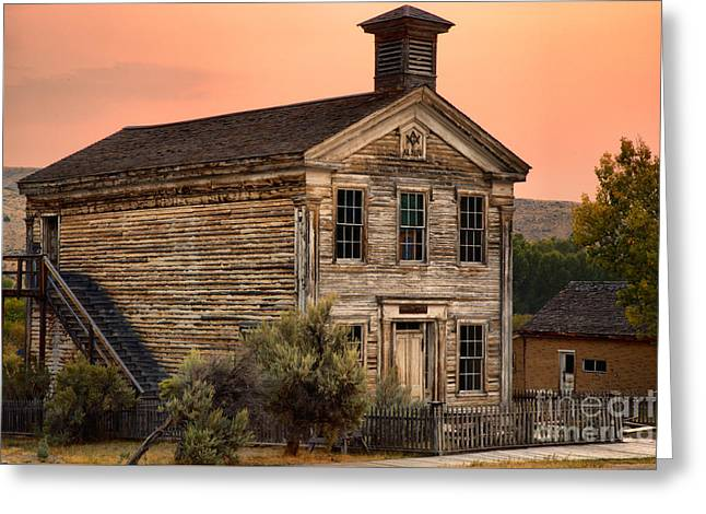 Pink Skies Over The Bannack School House Greeting Card