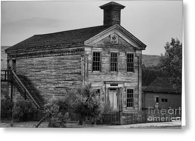 Pink Skies Over The Bannack School House Black And White Greeting Card