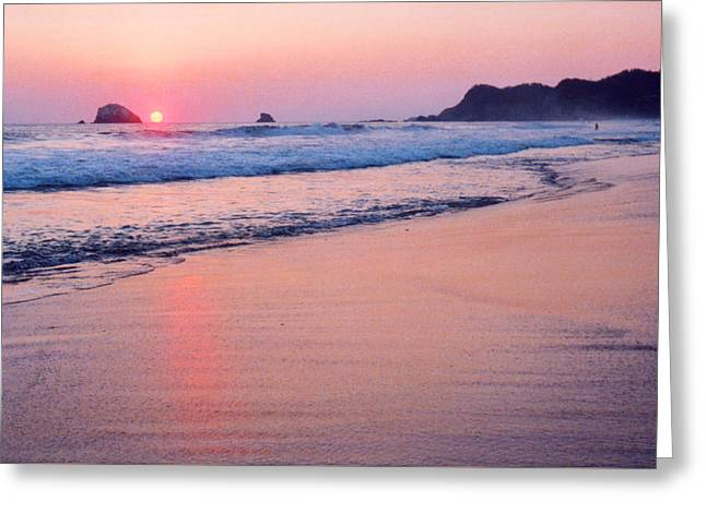 Pink Sky In Zipolite Greeting Card by Lyle Crump