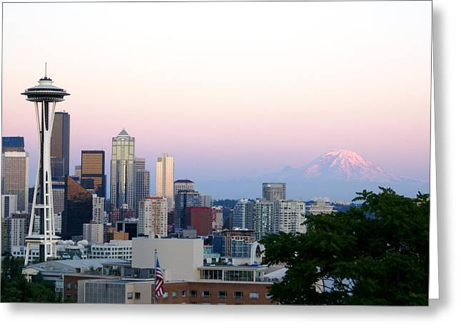 Pink Sky Over Mount Rainier Greeting Card by Sonja Anderson