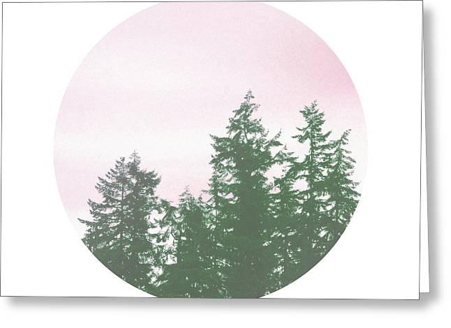 Pink Sky Trees- Art By Linda Woods Greeting Card by Linda Woods