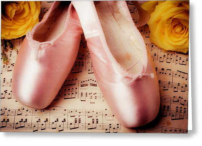 Pink Slippers And Roses Greeting Card