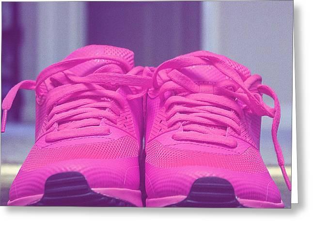 Pink Sneakers Greeting Card by Cortney Herron