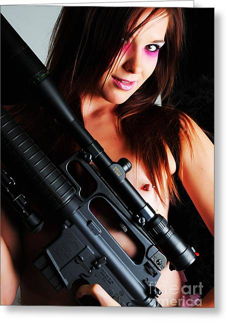 Pink Sniper Greeting Card