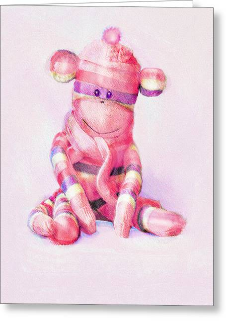 Pink Sock Monkey Greeting Card by Jane Schnetlage