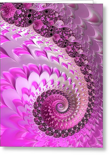 Pink Spiral With Lovely Hearts Greeting Card