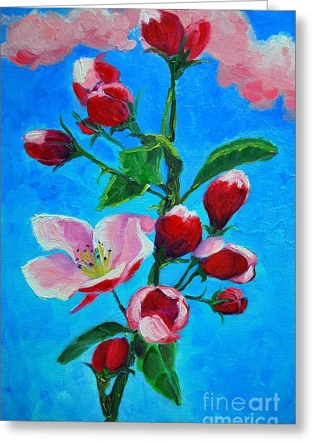 Greeting Card featuring the painting Pink Spring by Ana Maria Edulescu