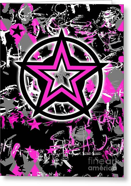 Pink Star Graphic Greeting Card by Roseanne Jones