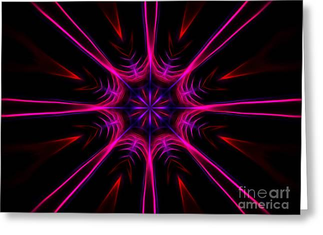Pink Starburst Fractal  Greeting Card