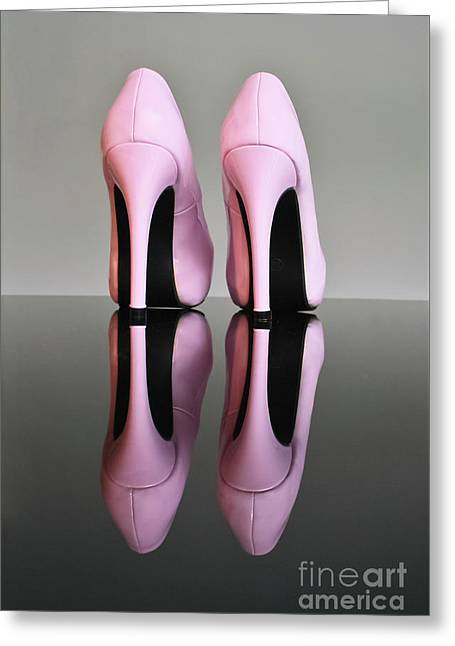 Pink Stilettos Greeting Card by Terri Waters