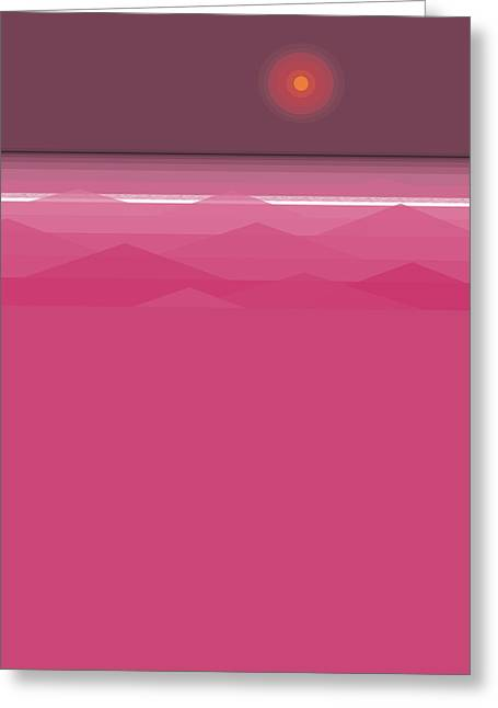Pink Sunset - Abstract Seascape Greeting Card by Val Arie