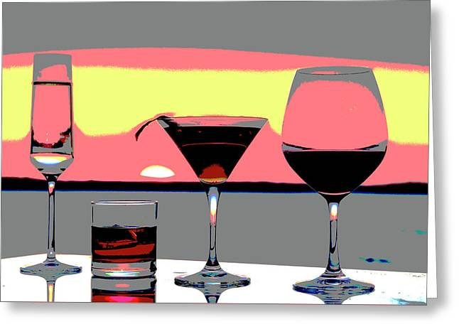 Pink Sunset Drinks Greeting Card
