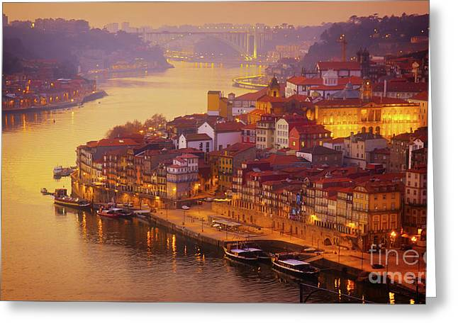 Pink Sunset In Porto Greeting Card