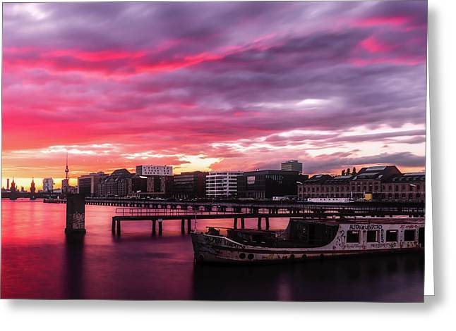 Pink Sunset Over Berlin Greeting Card
