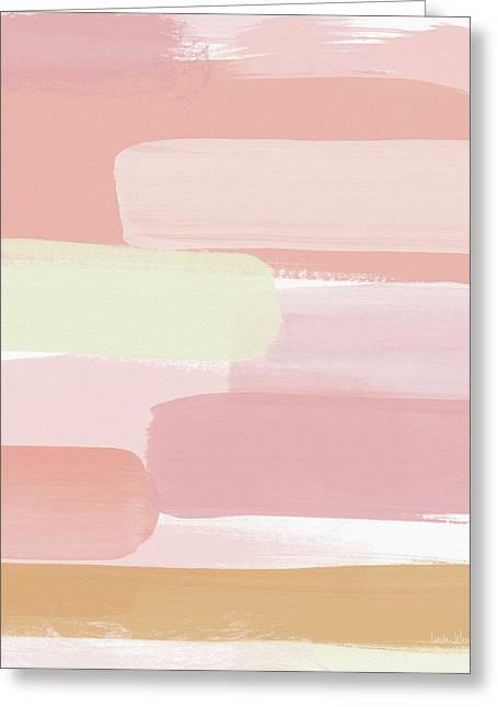 Pink Sunset Stripe 2- Art By Linda Woods Greeting Card