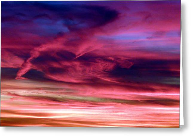 Pink Sunset Greeting Card by Tim Mattox