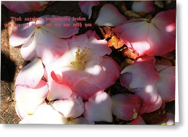 Pink Survivor Greeting Card by Dennis Baswell