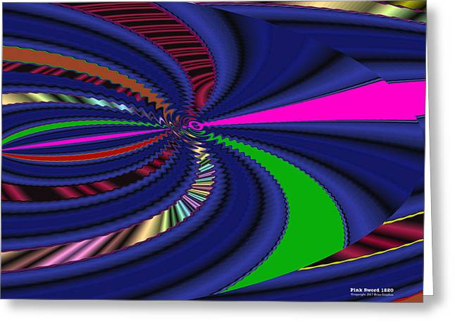 Greeting Card featuring the digital art Pink Sword 1220 by Brian Gryphon
