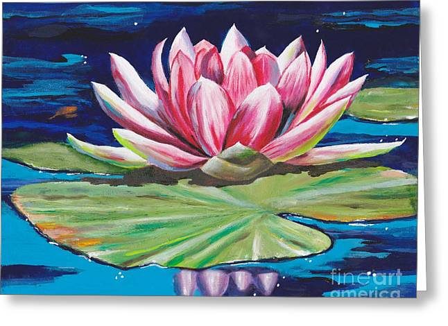 Greeting Card featuring the painting Pink Tranquility by Mary Scott