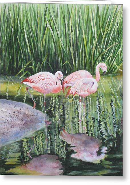 Greeting Card featuring the painting Pink Trio by Mary McCullah
