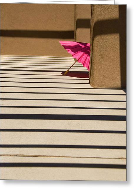 Greeting Card featuring the photograph Pink Umbrella by Carolyn Dalessandro