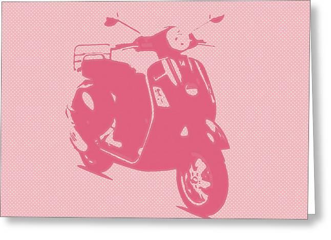 Pink Vespa Greeting Card by Denis Bouchard