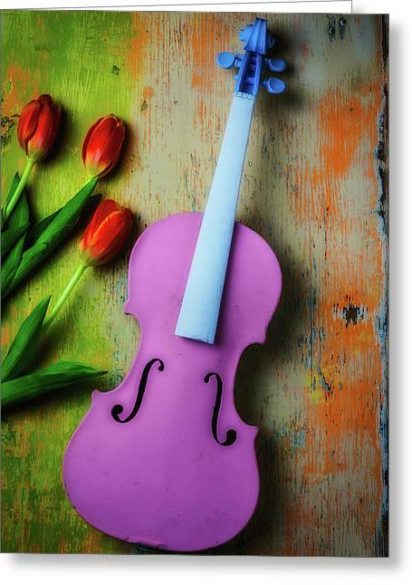 Pink Violin And Tulips Greeting Card