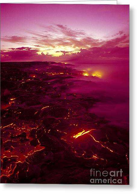 Pink Volcano Sunrise Greeting Card by Ron Dahlquist - Printscapes