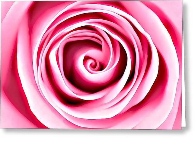 Greeting Card featuring the mixed media Pink Vortex by Lucia Sirna
