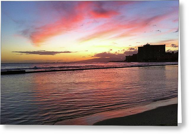 Pink Waikiki Sunset Greeting Card by Erika Swartzkopf