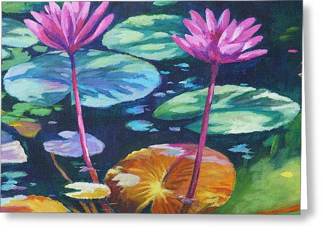 Pink Water Lilies Square Greeting Card
