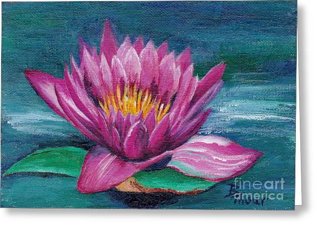 Pink Water Lily Original Painting Greeting Card by Brenda Thour