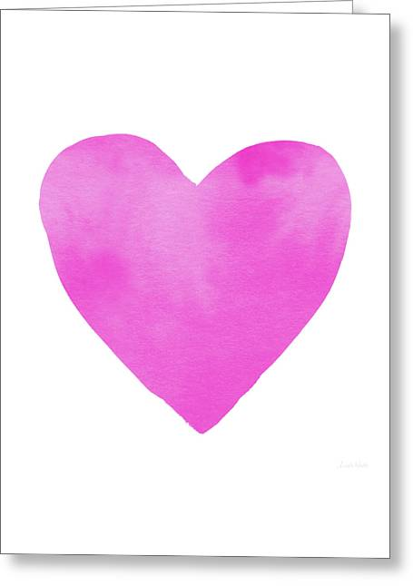 Greeting Card featuring the mixed media Pink Watercolor Heart- Art By Linda Woods by Linda Woods