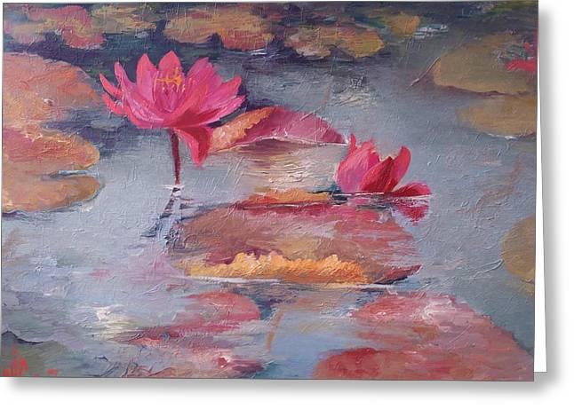 Pink Waterlilies Greeting Card