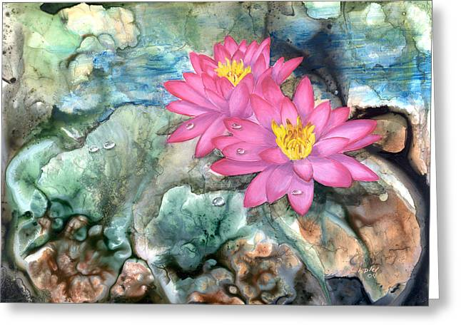 Greeting Card featuring the painting Pink Waterlily by Sherry Shipley