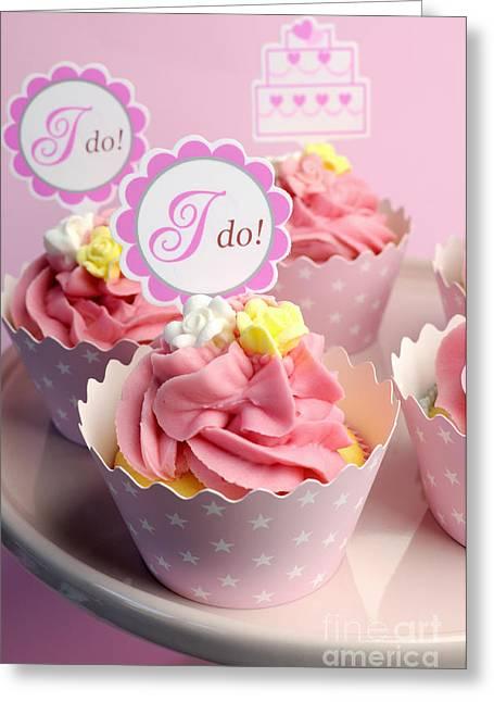 Pink Wedding Cupcakes  Greeting Card