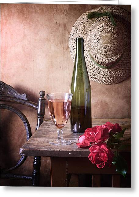 Pink Wine And Roses Greeting Card by Nikolay Panov