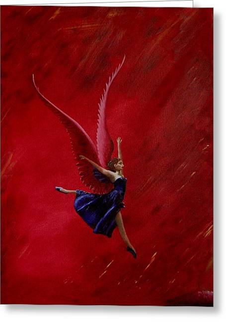 Pink Winged Farie Greeting Card by Ivan Rijhoff
