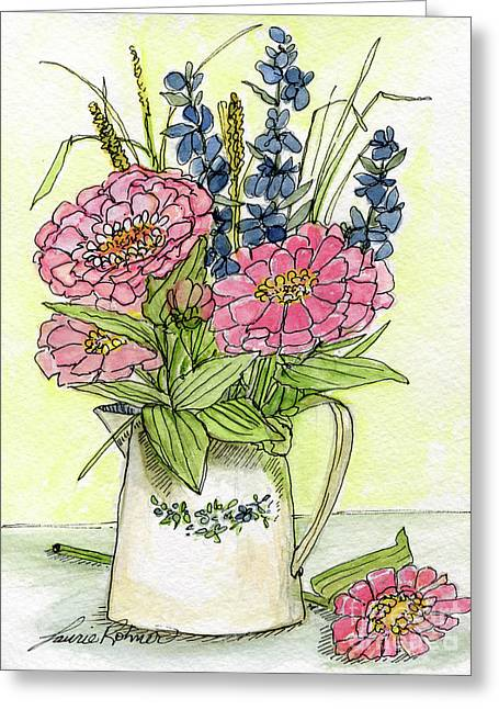 Pink Zinneas Greeting Card