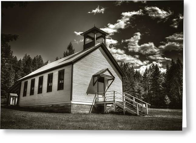 Pinkham Creek School House In Black And White Greeting Card by Constance Puttkemery