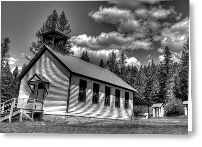 Pinkham Creek School In Black And White Greeting Card by Constance Puttkemery