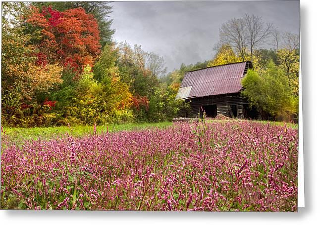 Pinks In The Pasture Greeting Card by Debra and Dave Vanderlaan