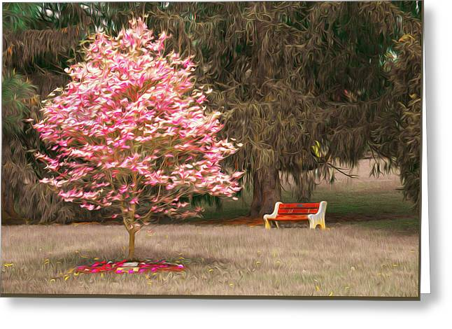 Pinky And The Bench - Impressionism Greeting Card